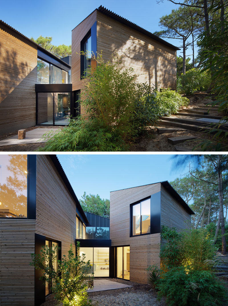The inspiration for the design of this holiday house was taken from other forest cabins and has been designed with a variety of connected 'cabins' with multiple openings to accentuate its relationship with the surrounding nature.