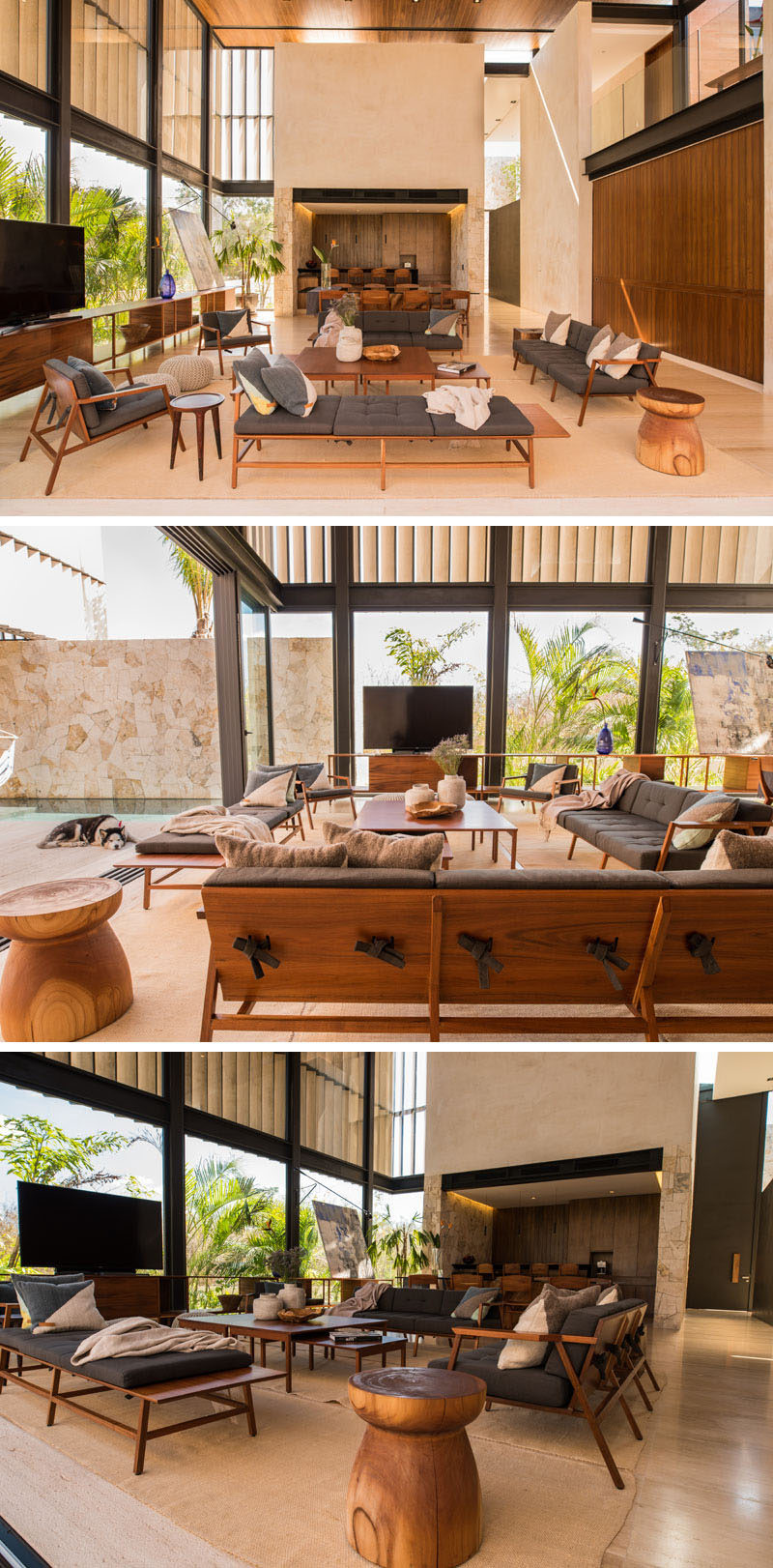 This modern home has an outdoor entertaining area that flows through to the interior of the house and the living room. A simple color palette of grey, wood and stone has been used to create a relaxed environment that ties back to nature.