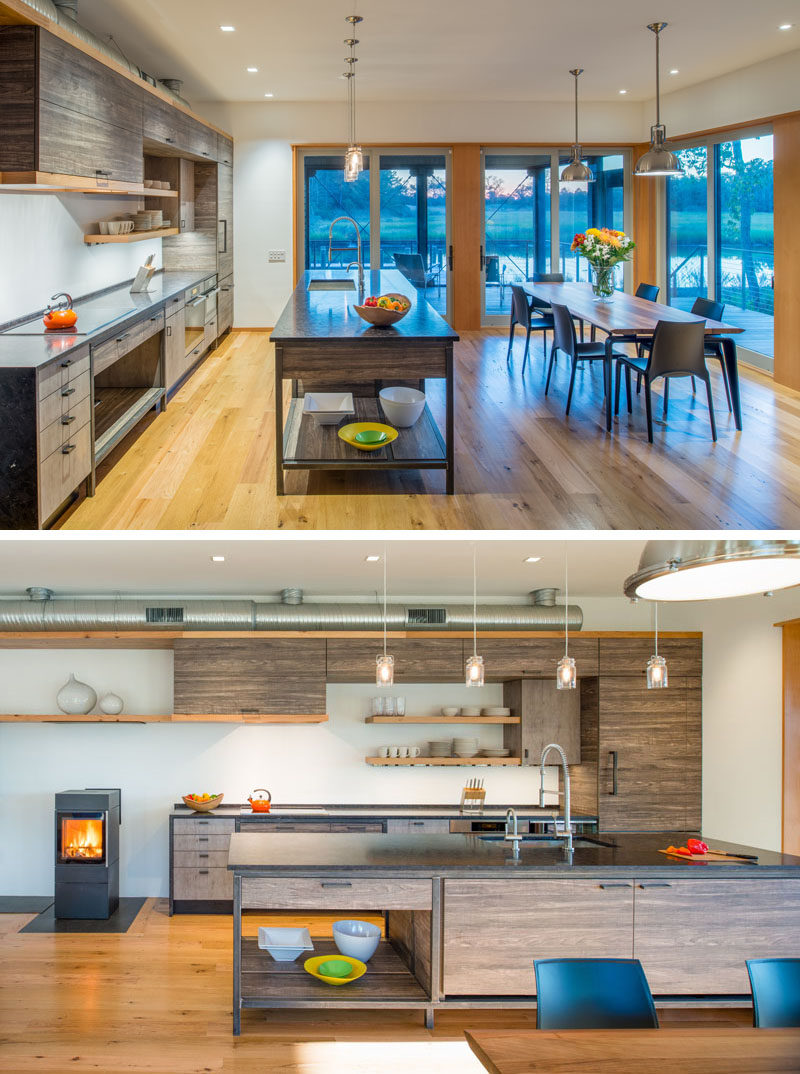 This kitchen and dining area share the open floor plan, while sliding glass doors open up to the porch.