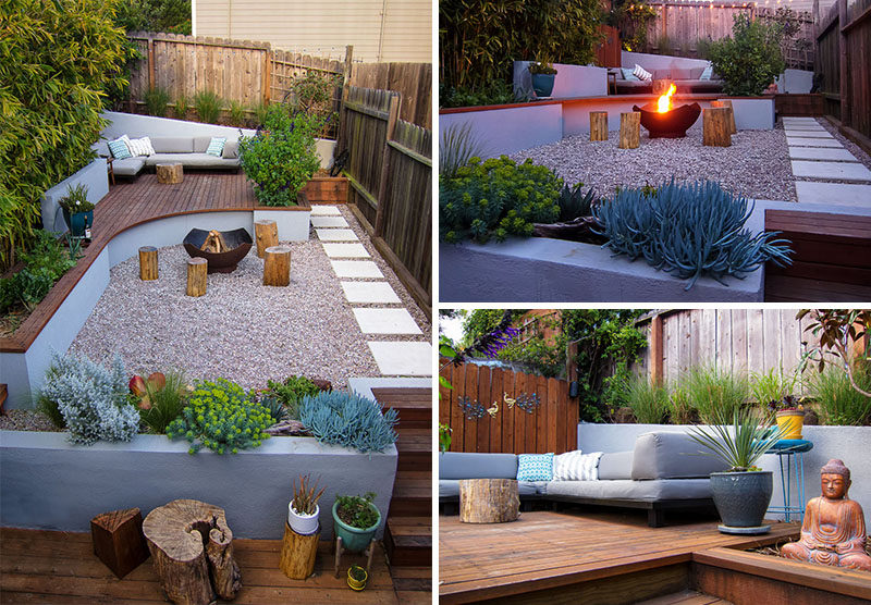 This Modern Landscaped Backyard Has A Raised Outdoor Lounge Deck, A Wood  Burning Firepit,