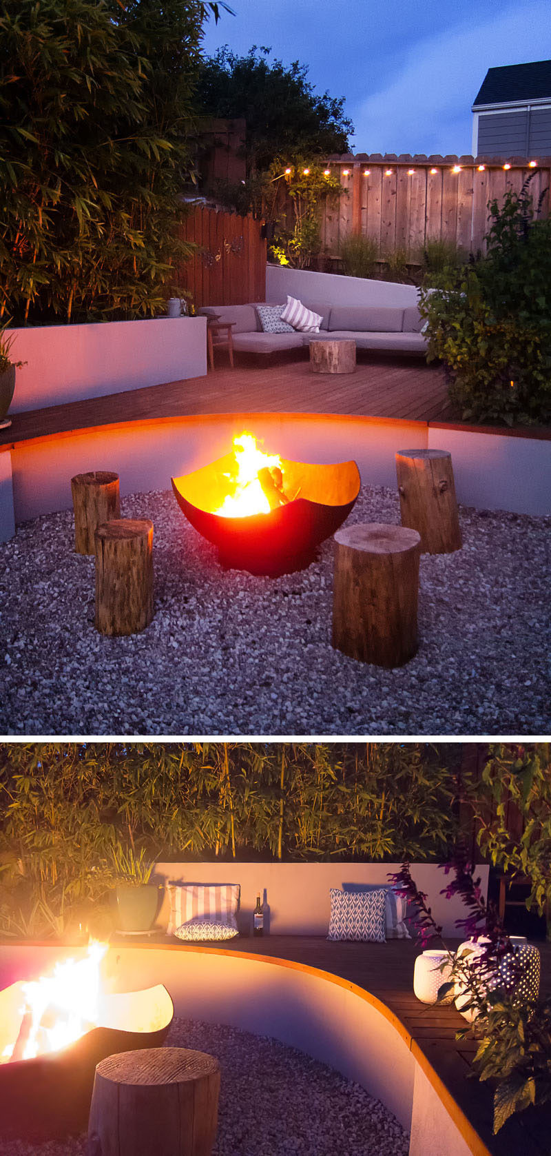 The main focal point of this modern landscaped backyard is a Corten steel wood burning firepit that's surrounded by wood stools and the curved part of the deck. This curved section also becomes additional seating.