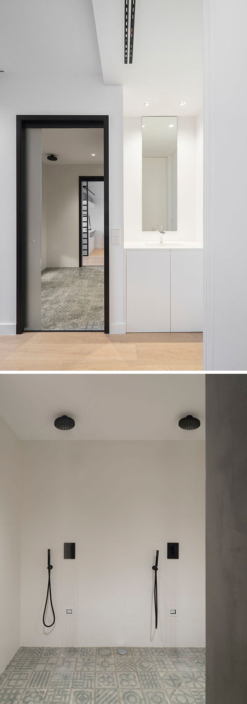 This common bathroom between two bedrooms has dual shower heads in a single wet room. Outside the bathroom there's a simple built-in vanity area.