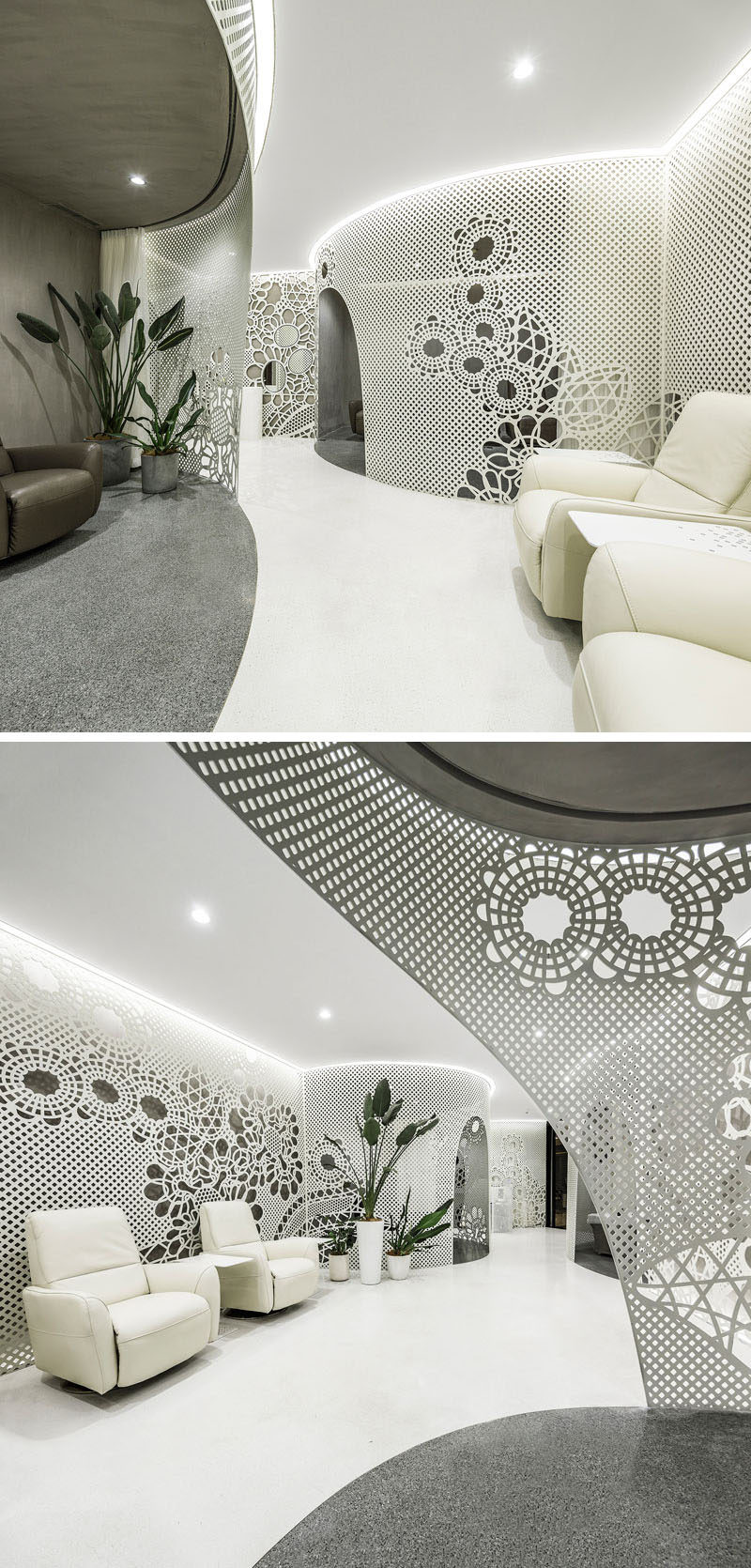Lace-like patterns on the walls create artistic installations throughout this modern nail salon, while the curved sections of the salon define different areas like manicure, beauty , reception and storage.