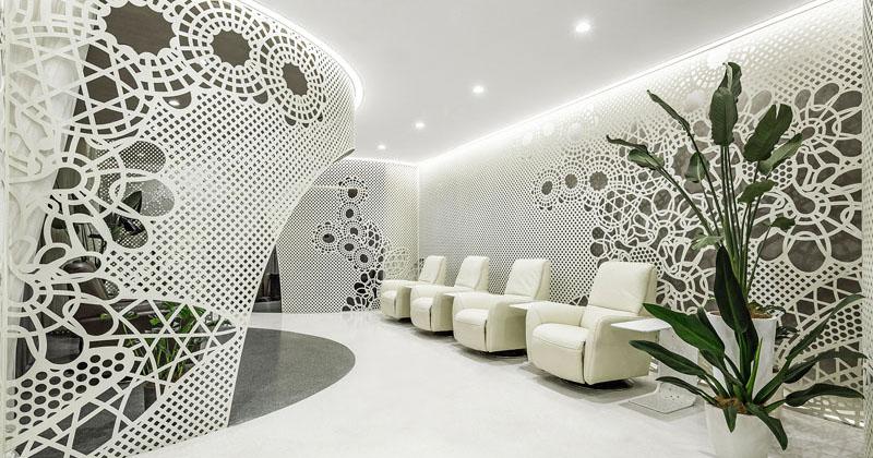 Delicate Patterns Adorn The Walls Of This Bright Nail Salon Interior