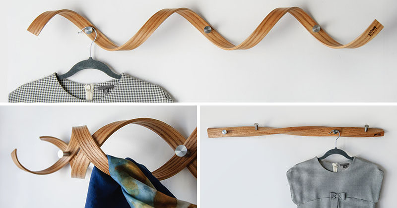KROMMdesign, a small design studio based in Montreal, Canada, creates unique and sculptural wood wall-mounted coat racks that can double as art pieces.