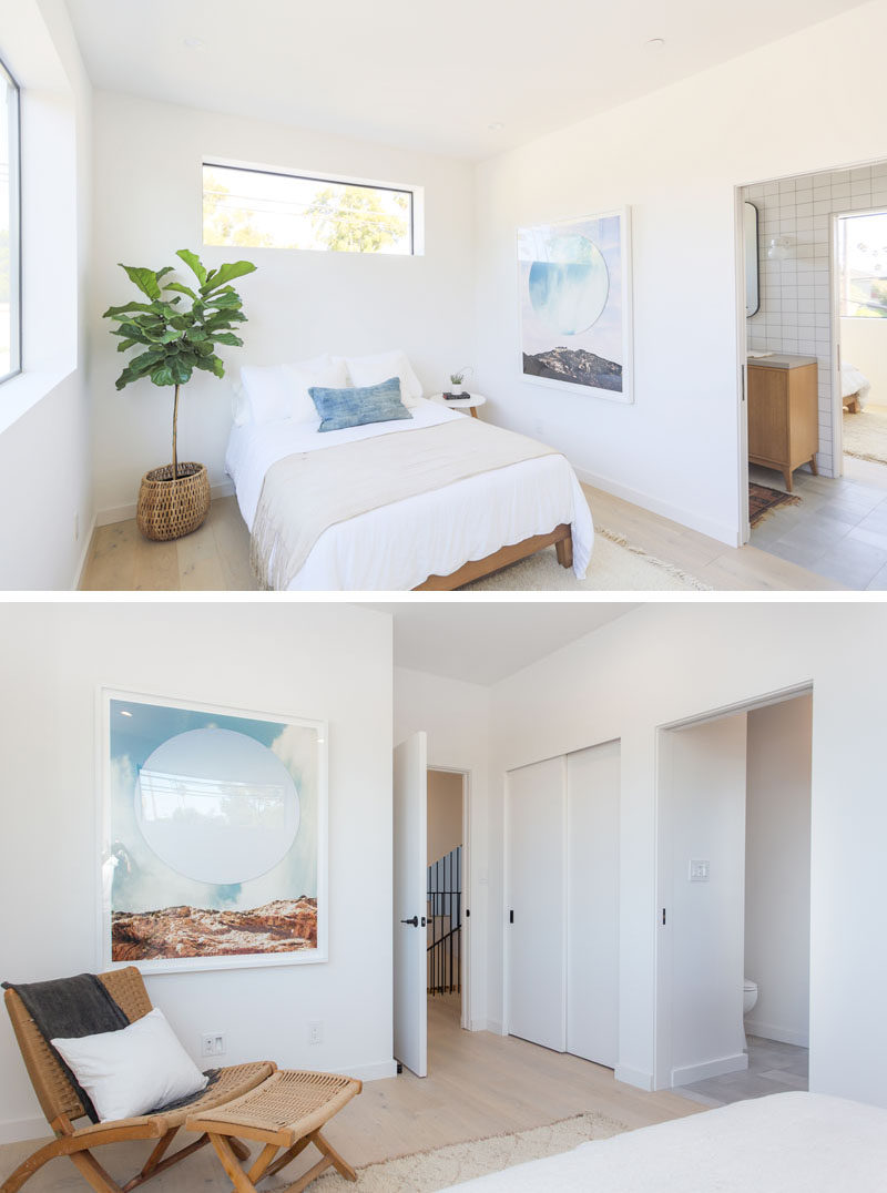 This modern bedroom is simple in its design, with white walls and only an art piece, plant and pillow to add some color.