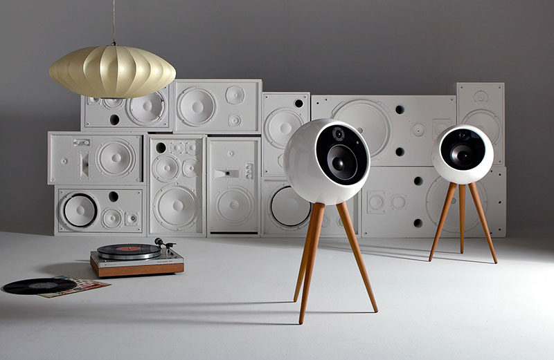 Handmade in California by skilled craftsmen, the Moonraker by bossa is a sleek and sophisticated wireless speaker system that pays homage to mid-century design, with every detail being functional and elegant at the same time.
