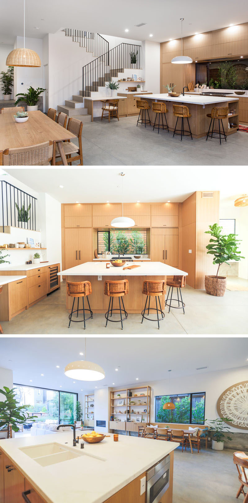 In this modern kitchen, wood cabinets have been paired with custom white marble countertops to tie in with the rest of the wood accents in the open plan room and the white walls.