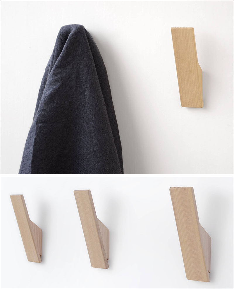 The light colored wood and the simple design of these minimalist wall hooks would compliment any modern interior, especially those with a Scandinavian influence.