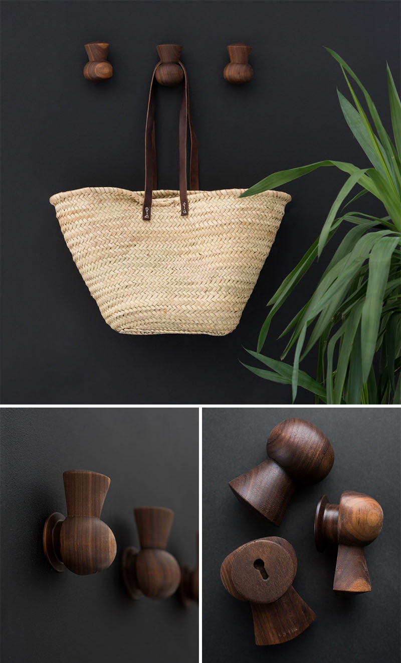 These wood hangers are turned from black walnut in a lovely and simple thistle shape.