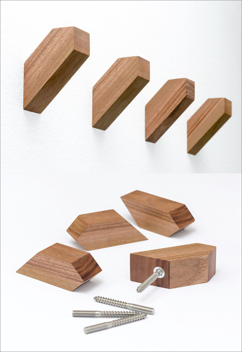 These geometric wood wall hooks are made from European Walnut and have a simple and understated design.