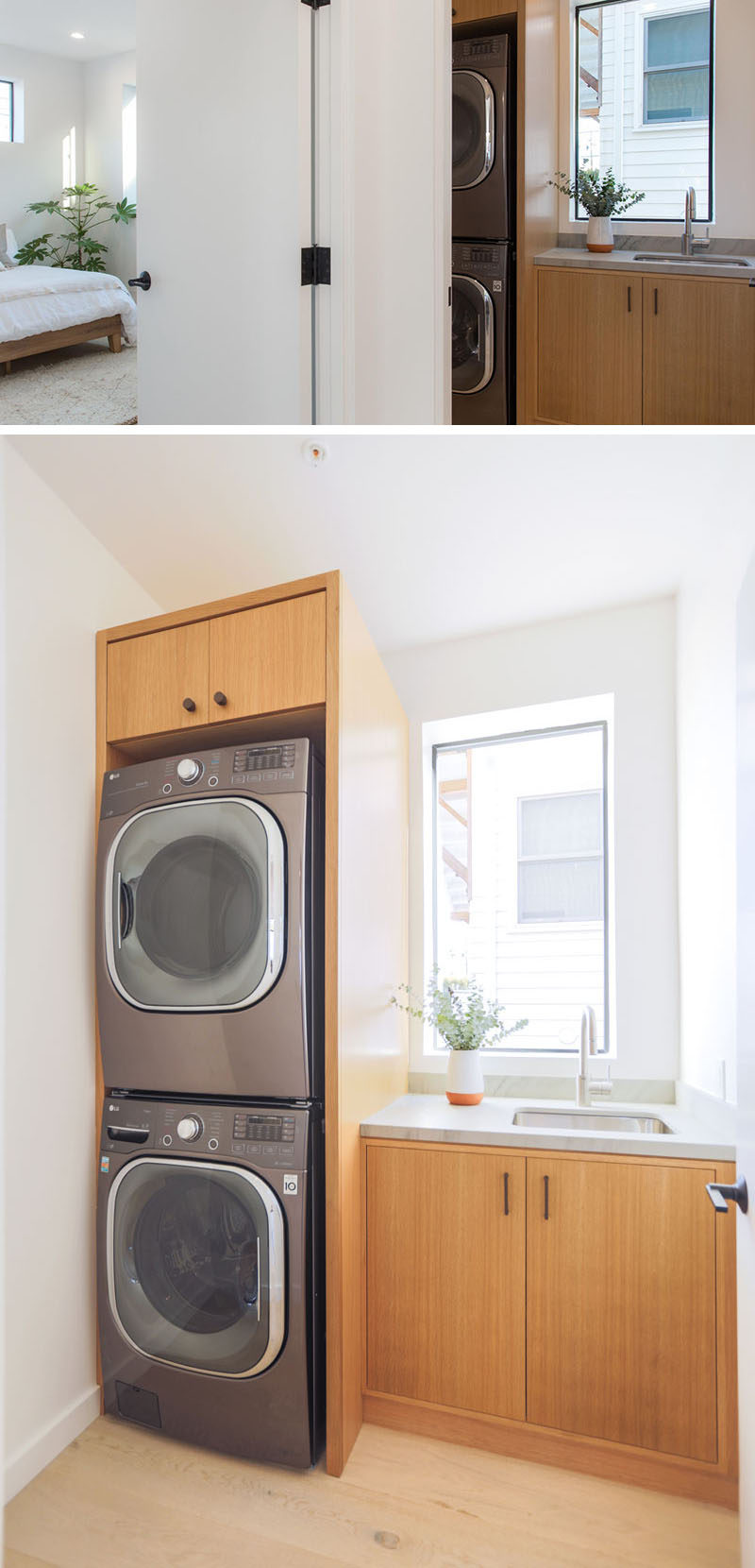 Tucked away in a small room near the bedrooms in this modern house is the laundry room. Custom cabinetry has been used to frame the appliances and create storage.