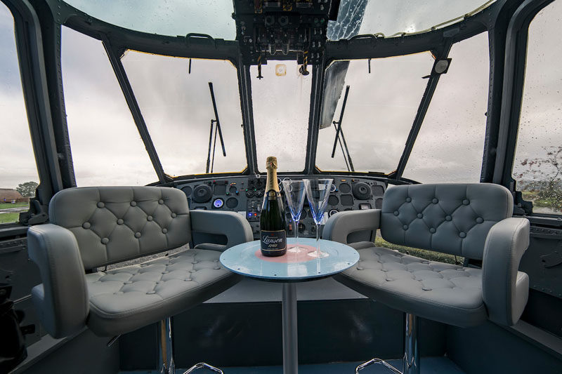 The team at Mains Farm in Stirling, Scotland, thought outside the box and invested in a decommissioned Royal Navy ZA127 Sea King Helicopter and turned it into a fun glamping destination, where you can stay inside the helicopter.