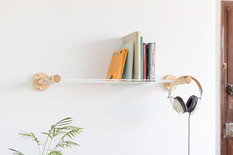 The Items On These Shelves Delicately Sit On Small Ropes