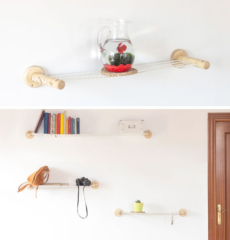 The team behind Spanish design studio Smallgran, have created a unique and simple shelf design that adds an interesting element to your walls. Instead of having solid shelves made from wood or metal, the shelf has ropes that have been pulled tight between two wood ends, to create a surface that allows objects to be displayed on them.
