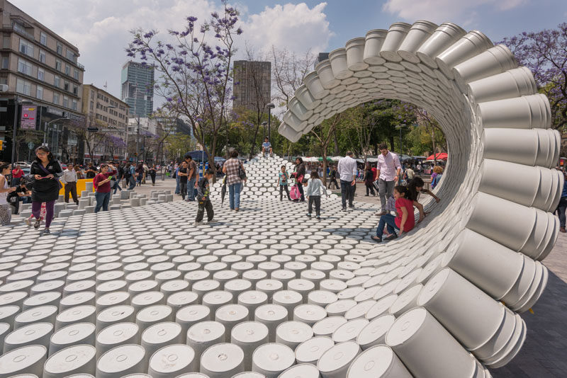A Group Of Designers Created A Wave Made Of Buckets For An Architecture Festival In Mexico City