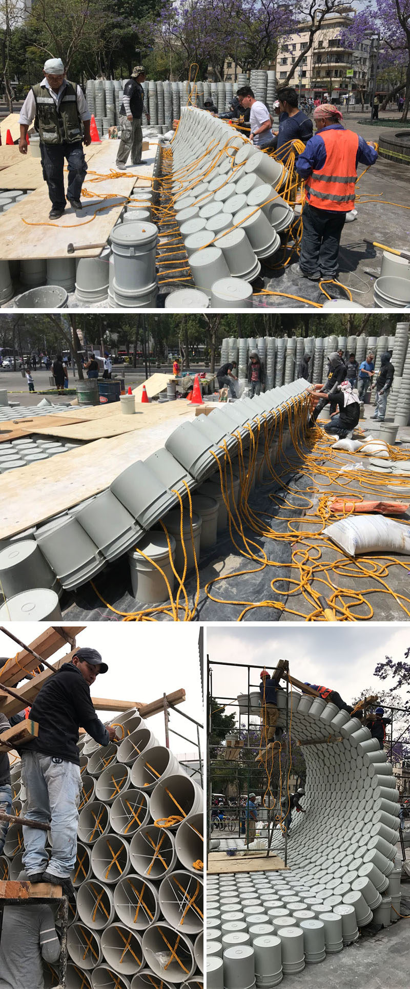 5468796 Architecture, Factor Eficiencia and Studio NYL have collaborated to create a public art installation in Mexico City, that's made from common painter's buckets.