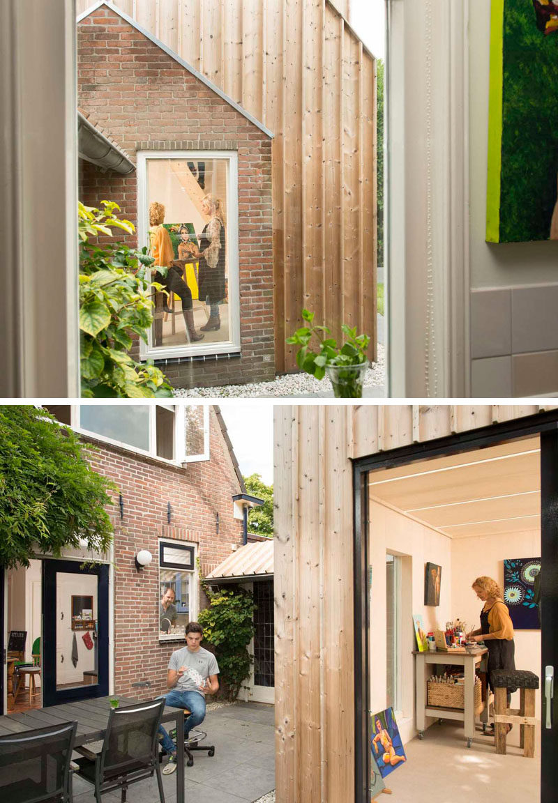 Architecture firm Open Kaart worked together with their clients to transform and old shed into a private and modern painting studio in the backyard of their house in Woerden, The Netherlands.