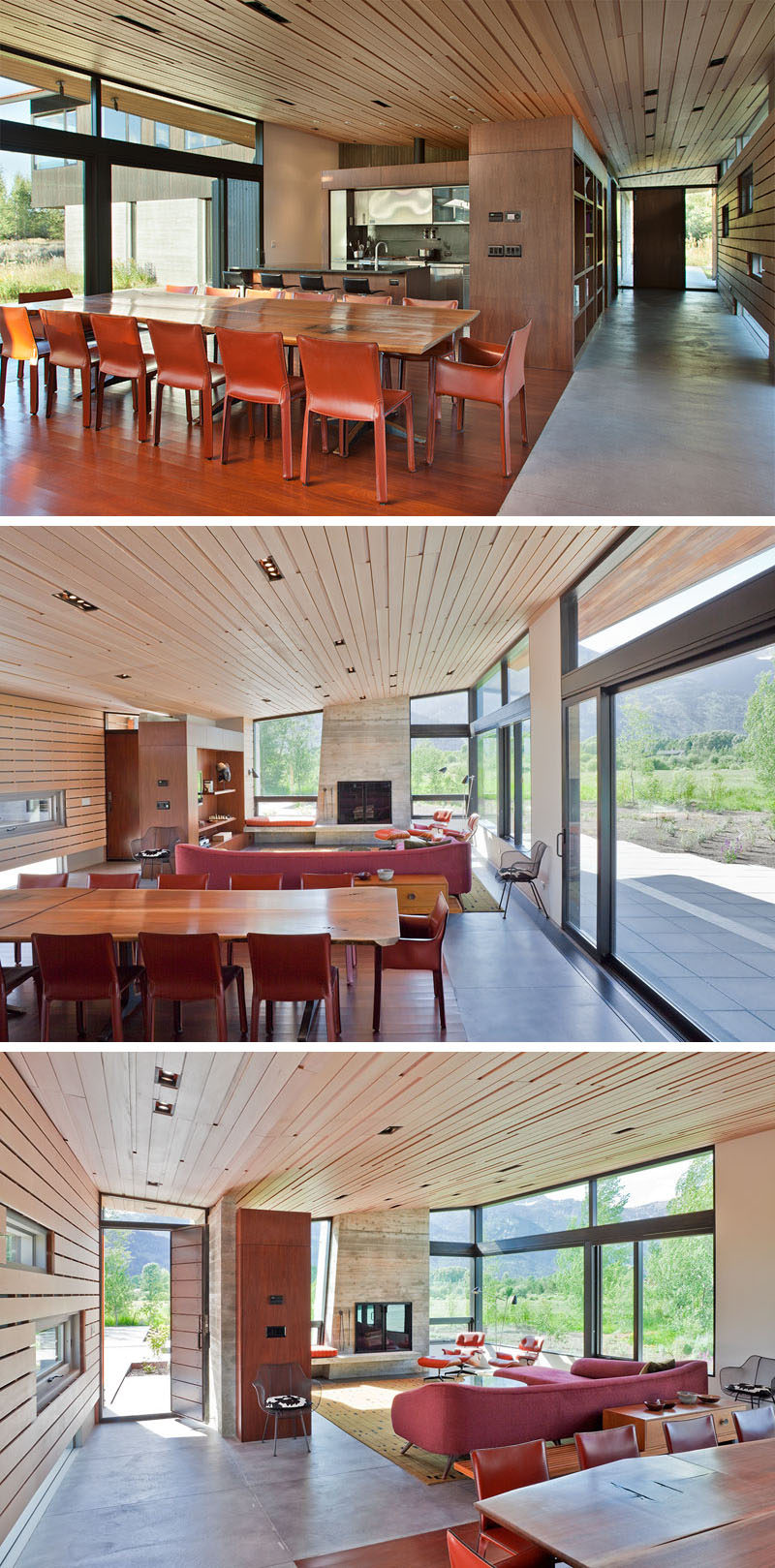 The wood overhang featured on the exterior of this modern house continues inside and becomes the ceiling of the kitchen, living and dining area. At one end of the room is a fireplace with a concrete surround that's flanked on either side by floor-to-ceiling windows.