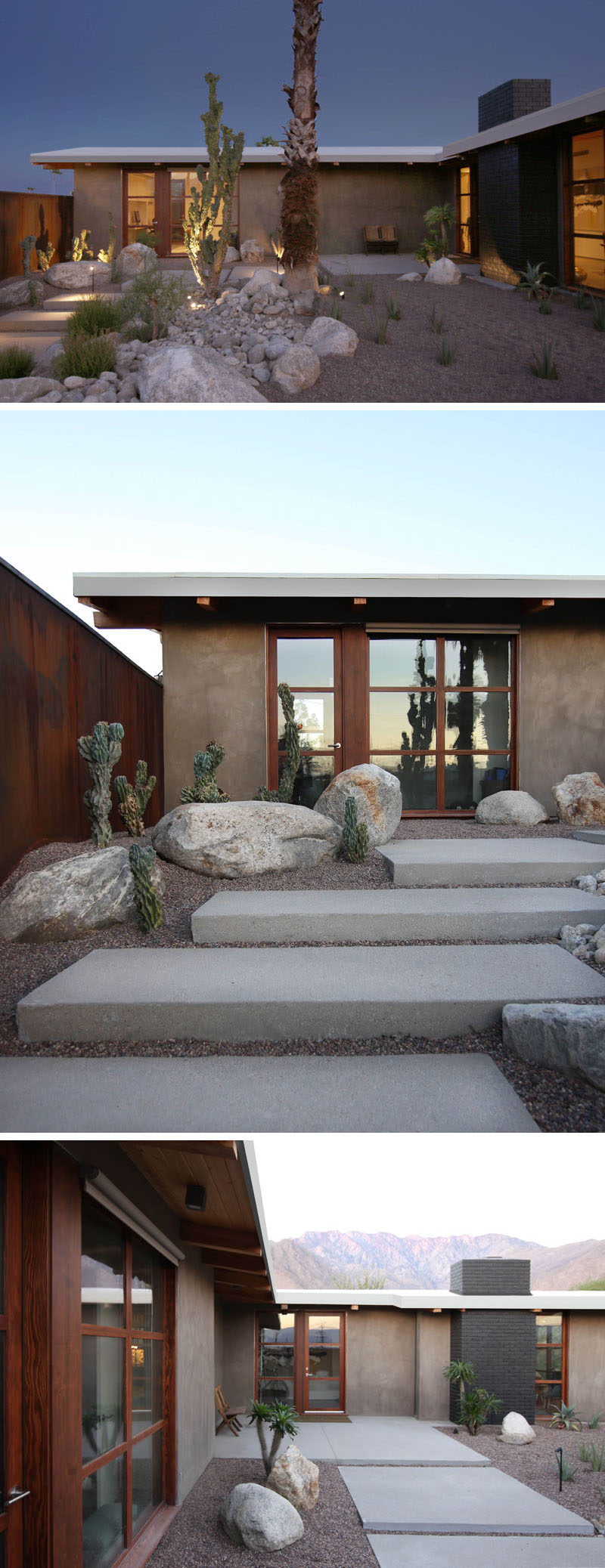 A modern courtyard with desert landscaping and steps leads up to the front door of this renovated mid-century house. #landscaping #garden #courtyard #desertgarden