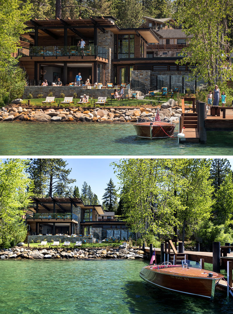 This modern lakeside club house features a ground-floor dining terrace and an expansive lawn that extends to the water's edge. There's also an outdoor spa and a fire pit.