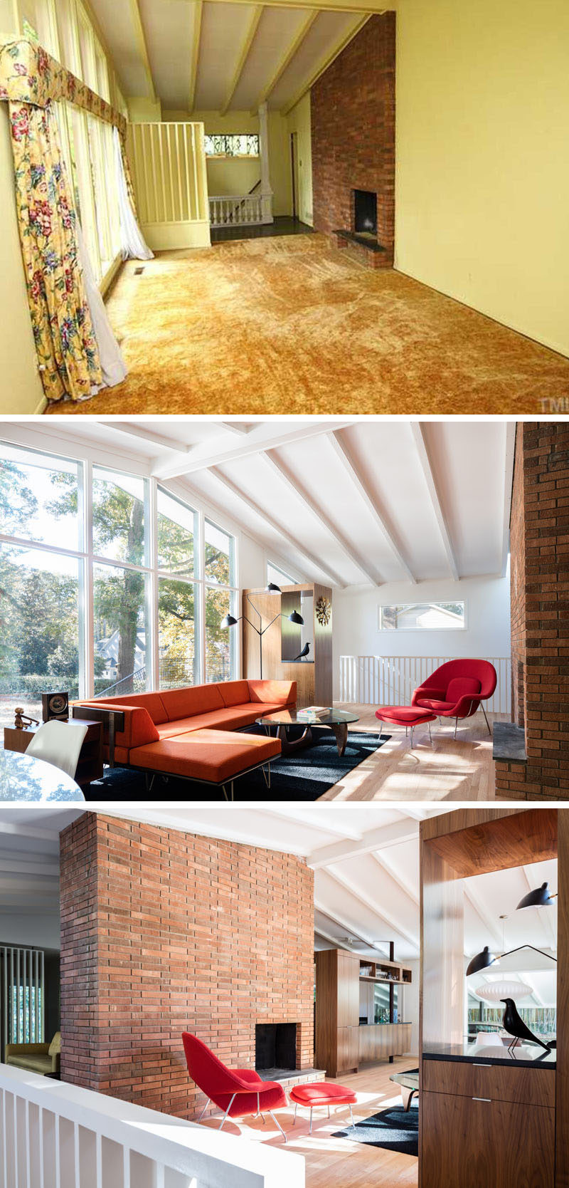 Gold colored carpets, yellow walls and floral window coverings were removed during the renovation of this house, and replace with a bright white interior and wood flooring. The white walls and ceiling help to make the interior feel larger and brighter, as well as creating a continuous color palette throughout the home. The walls around the brick fireplace were also removed to create an open interior.