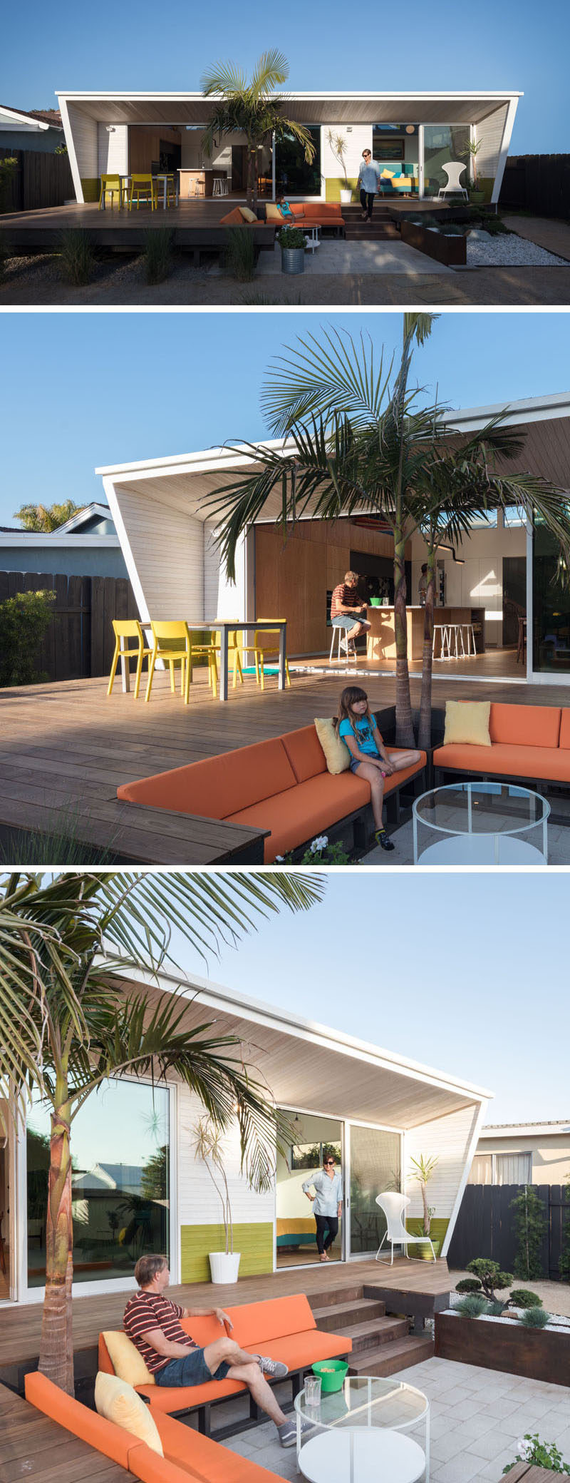 This renovated modern beach house has a roof line that overhangs the deck and provides some shade. Stepping down from the wood deck is a built-in lounge.