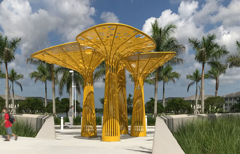 Contemporist This Yellow Tree Like Sculpture Brings Color To A Plaza In Florida Contemporary