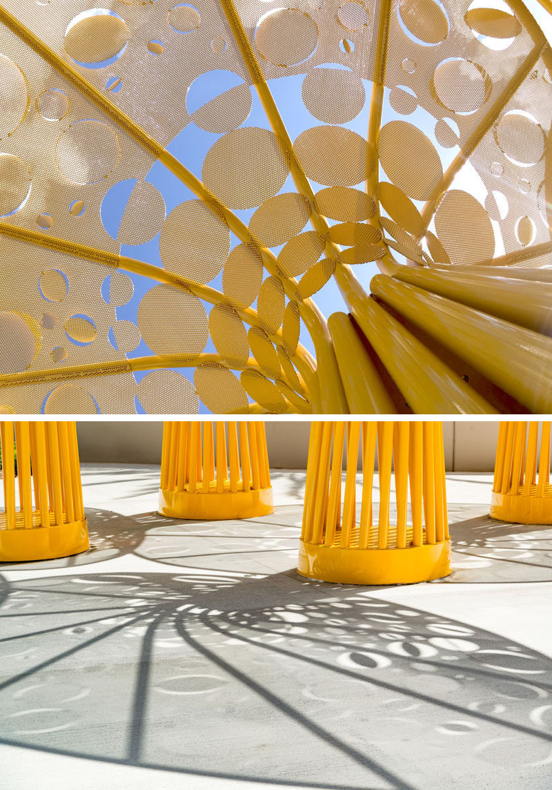 Brooks + Scarpa have designed a large bright yellow tree-like public sculpture for the city of Pembroke Pines in Florida.