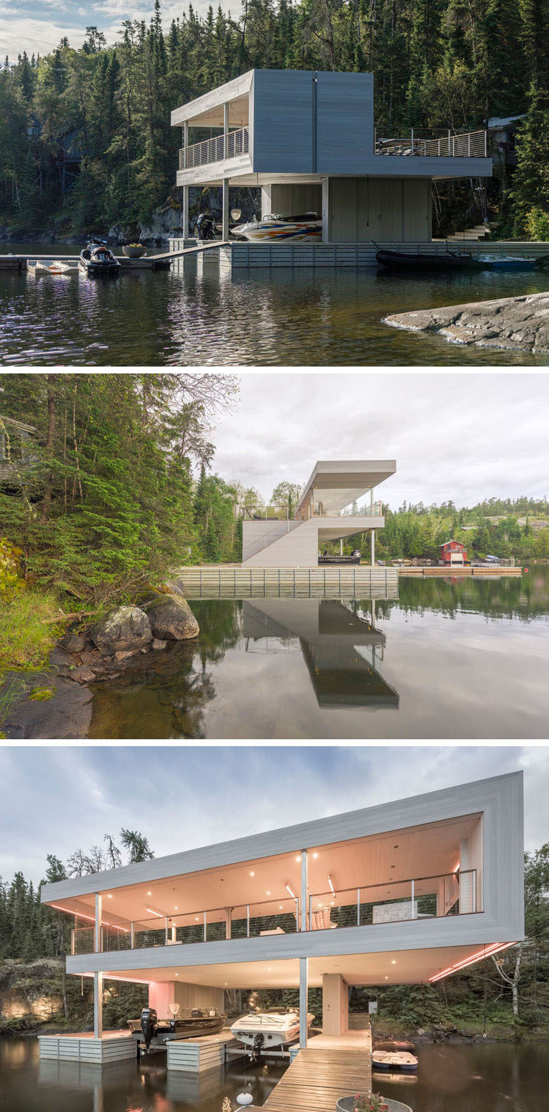 Cibinel Architecture have designed a modern boathouse for lounging and entertaining, that sits on Lake of the Woods in Canada.