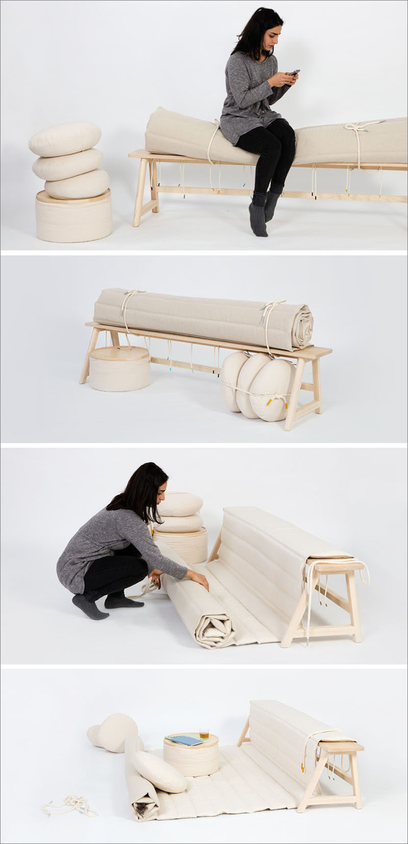 Floora, a furniture piece designed by Lis Eich, is a simple wood bench with a cushion that can be unrolled to create additional seating spaces on the floor.