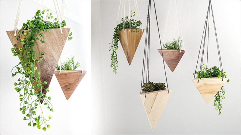 Fernweh Woodworking Creates A Collection Of Hanging Geometric Wood Planters