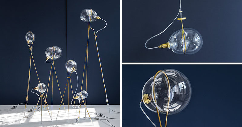 Ohad Benit Designs Lighting With Bubbles Of Glass Surrounded By A Brass Ring