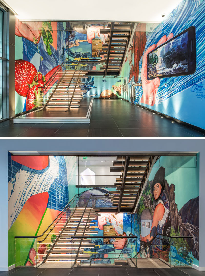 Bold and colorful street art murals by international artist Gaia, lines the stairs in this modern hotel.