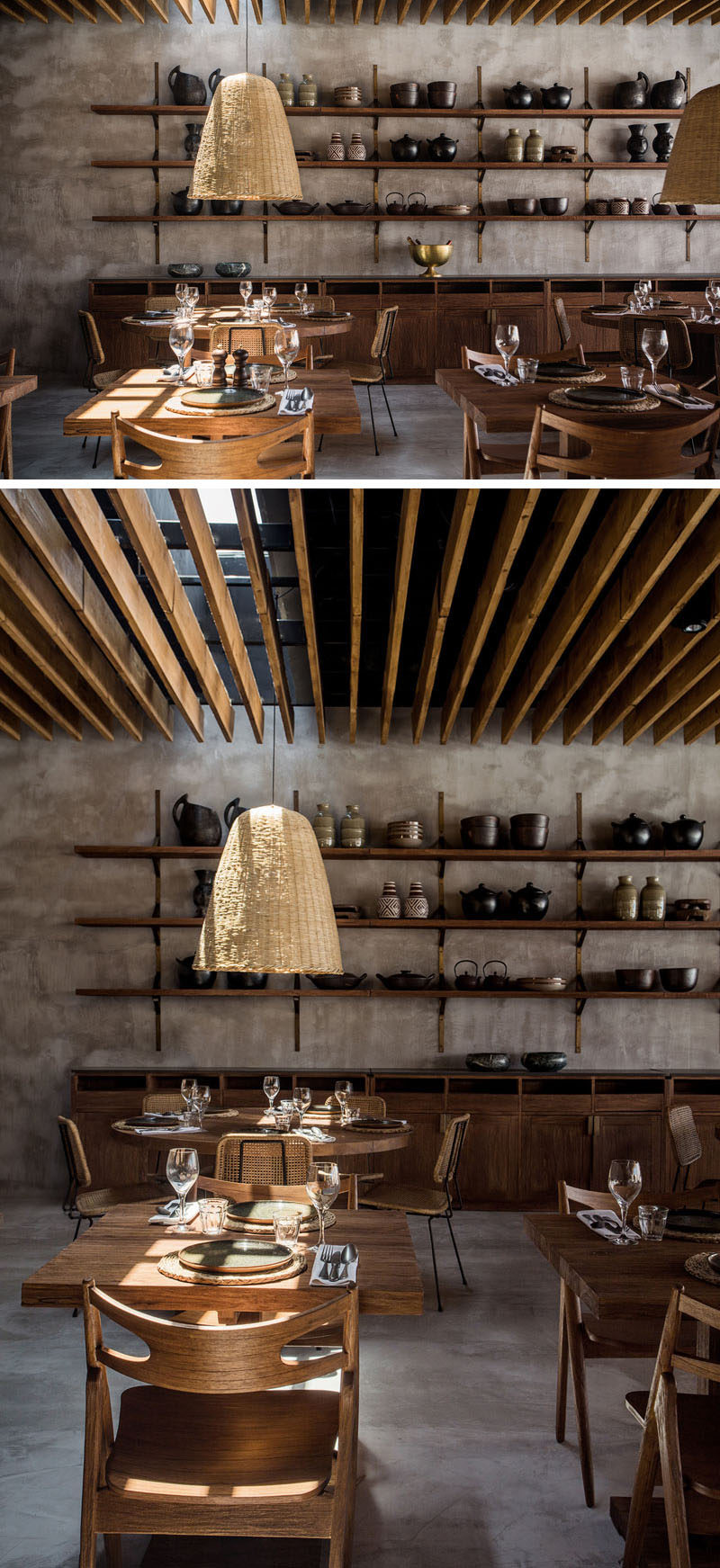 Throughout the design of this hotel in Greece, warm grey walls have been paired with wood elements to create a relaxing and contemporary appearance. #InteriorDesign #Restaurant #Hotel #Shelving