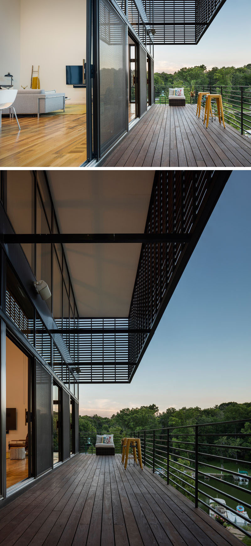 This modern home has a large balcony that overlooks the lake.