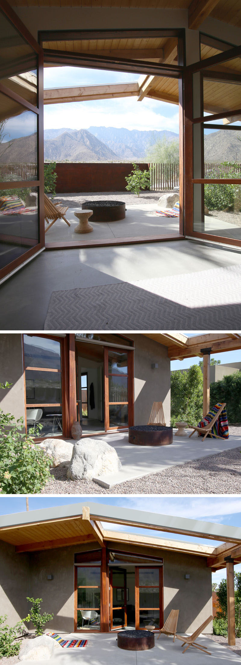 The master bedroom in this house opens up to a private patio with a firepit and small garden. #patio #garden #landscaping