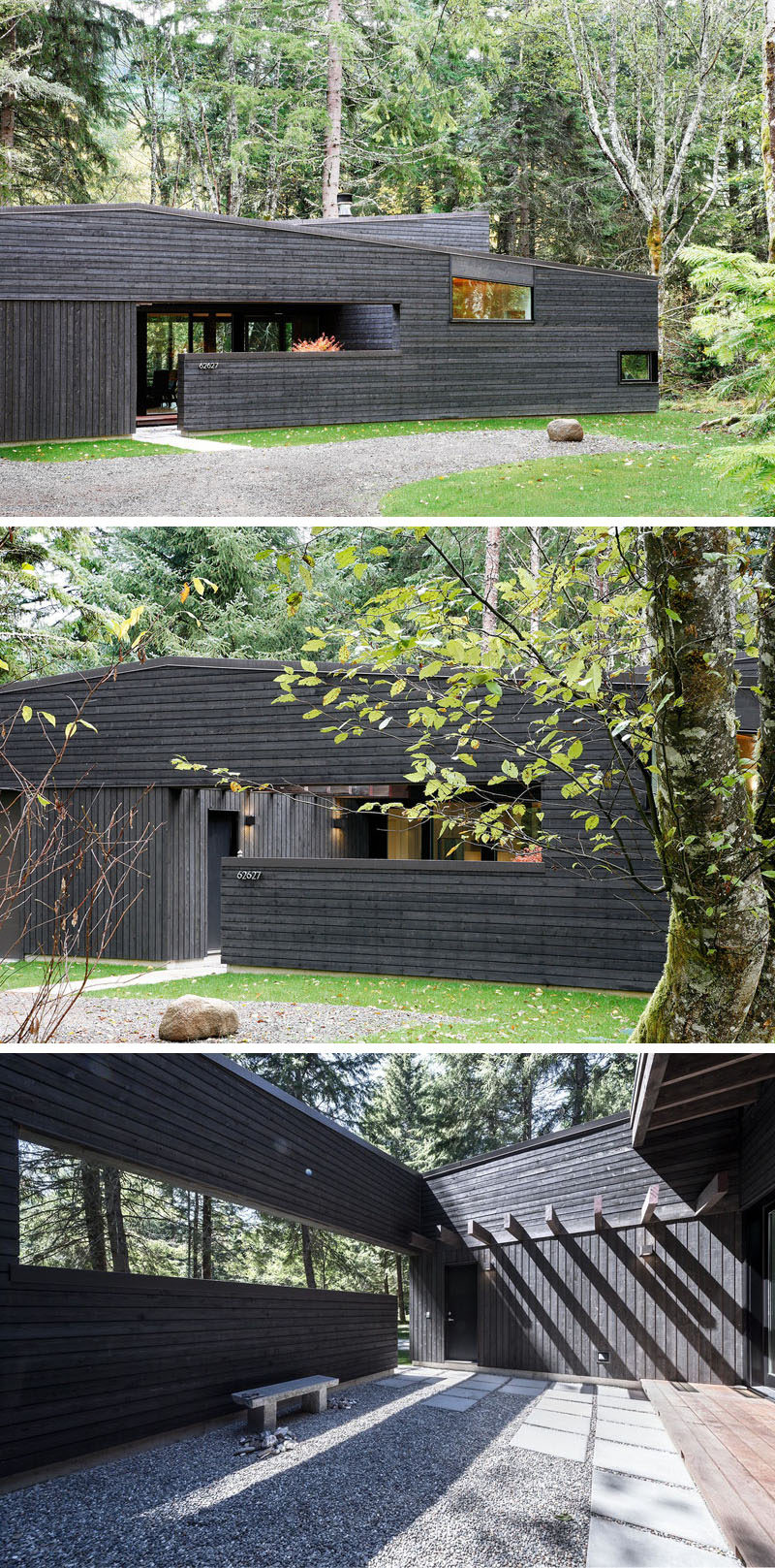 At the front of this modern house, there's a small cut-out allowing a section of the wall to be used as a privacy fence. Behind the wall, there's a entry courtyard that serves as a transitional space before entering the home and helps to keep the many elk herds at bay.