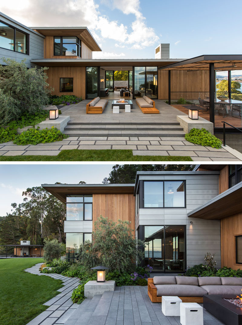 The architects used aegean limestone western red cedar zinc and board formed concrete to create a modern home that would compliment its surroundings