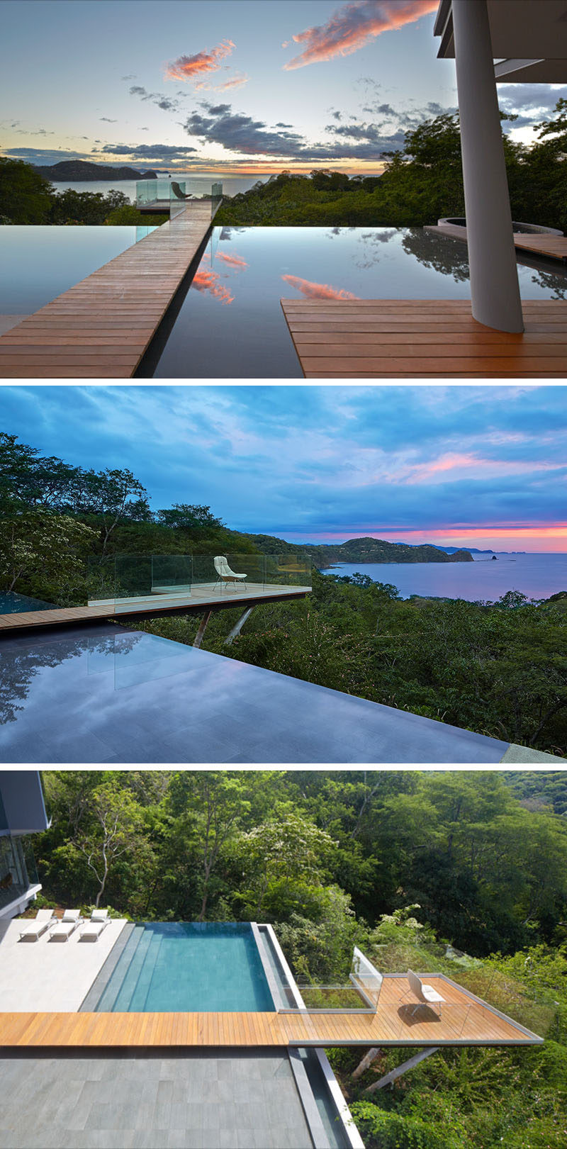This modern house, designed to enjoy the views, has an infinity edge pool and a walkway that leads out to a deck that extends away from the house.