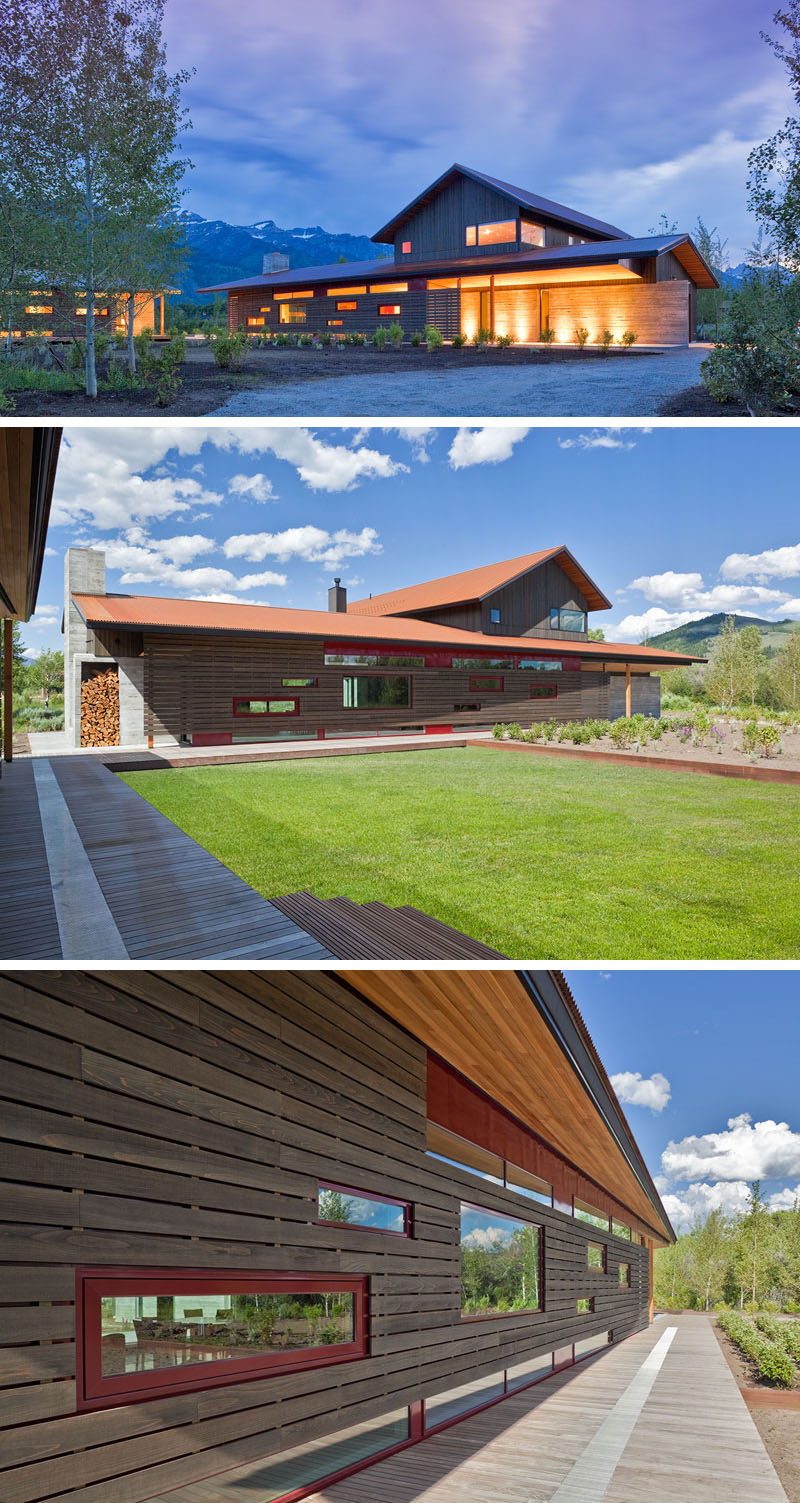 This contemporary mountain property has been designed so that the main house and guest quarters are located in separate buildings. The layout of these buildings also allows outdoor spaces to form between them, creating a courtyard and lawn area.