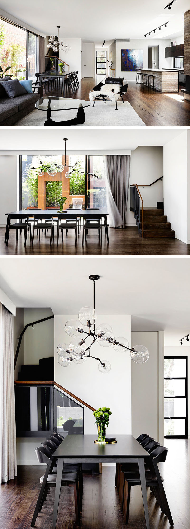 This modern open plan interior anchors the dining table in the space by using a chandelier.
