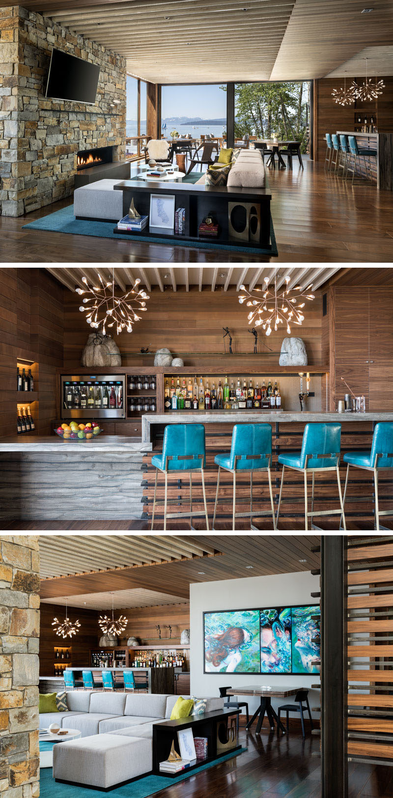 This lakeside club house features an indoor gathering area with a lounge focused on a fireplace, dining tables and a wood covered bar,