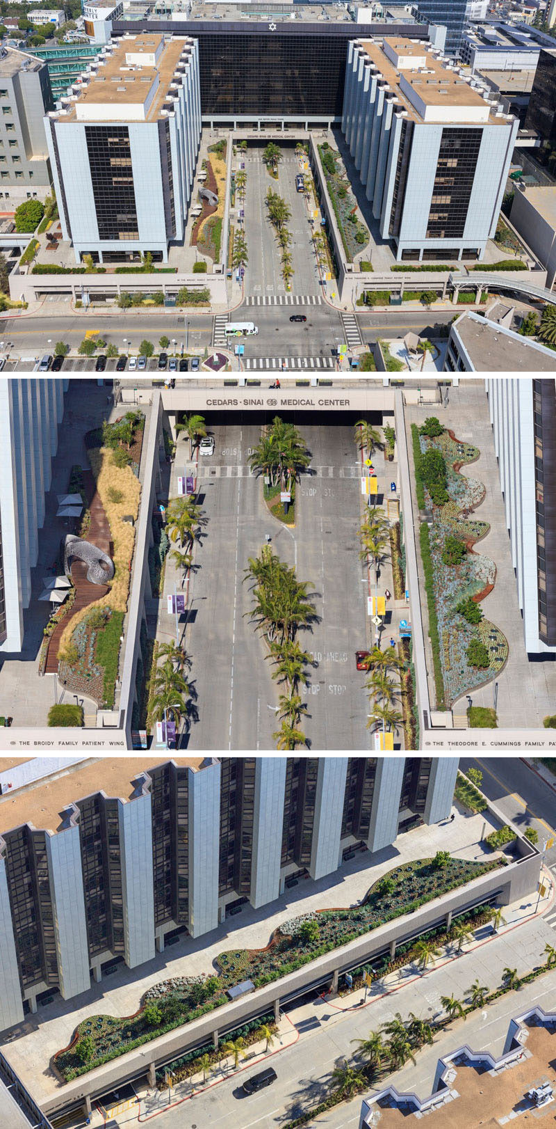 AHBE Landscape Architects have designed the new Healing Gardens and terrace for Cedars-Sinai Medical Center in Los Angeles, California. The garden is separated into two concrete plaza sections that sit on top of a multi-level garage.