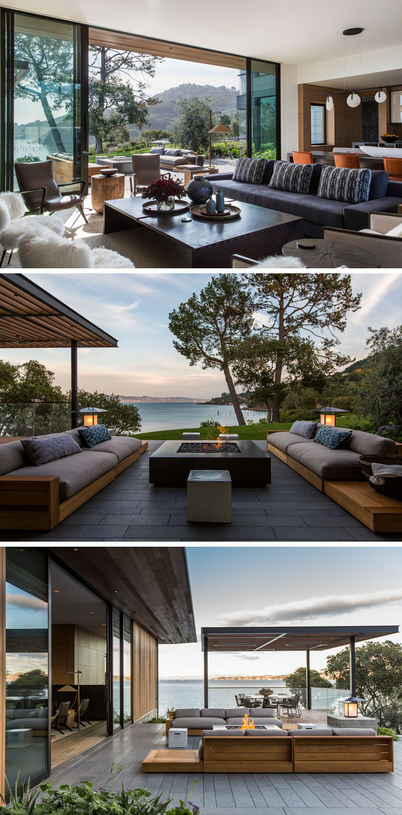 In the living room of this modern house, large sliding glass doors open to an outdoor lounge to create an indoor / outdoor living experience. The outdoor lounge also has a firepit and a outdoor dining area sits underneath a pergola.