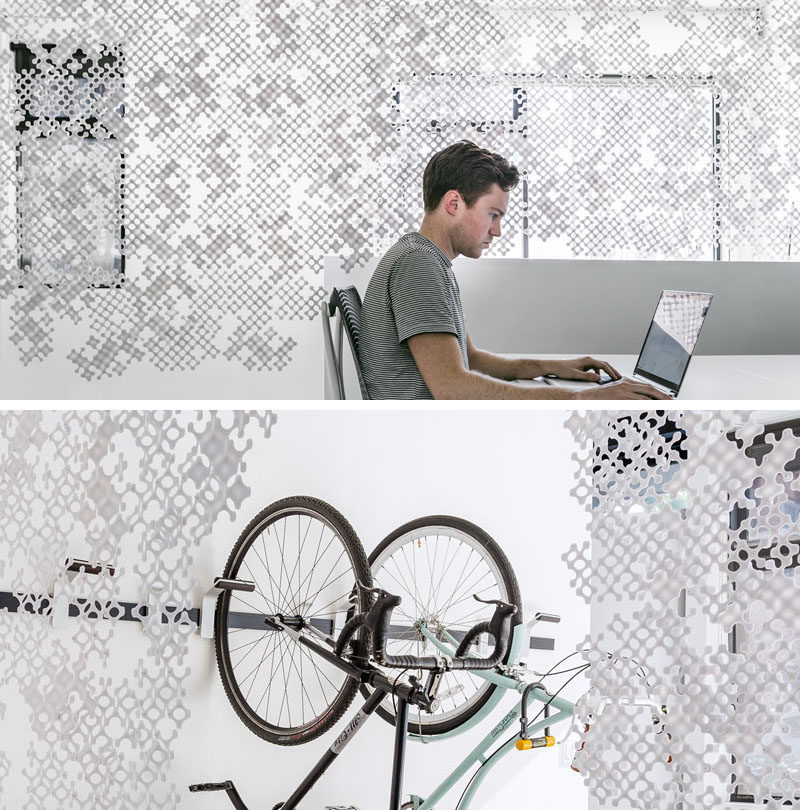 Veil is a modular partition or privacy screen that can be used to separate spaces yet still allows some light to pass through.