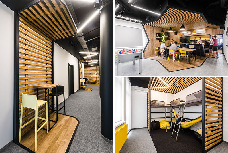 mode:lina architekci have recently completed a new office in Wroclaw, Poland, for Droids On Roids, a tech company. The design of the office takes inspiration from their logo, and throughout the space there's references to the color and the lightning bolt.