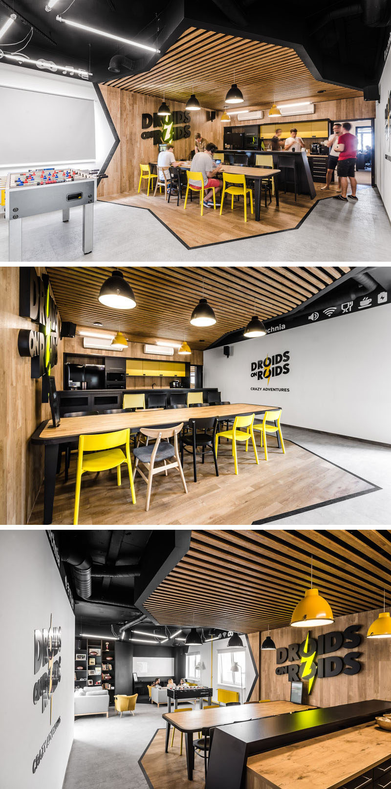 Office Break Room Design: This New Office Interior Uses Wood And Black Frames To