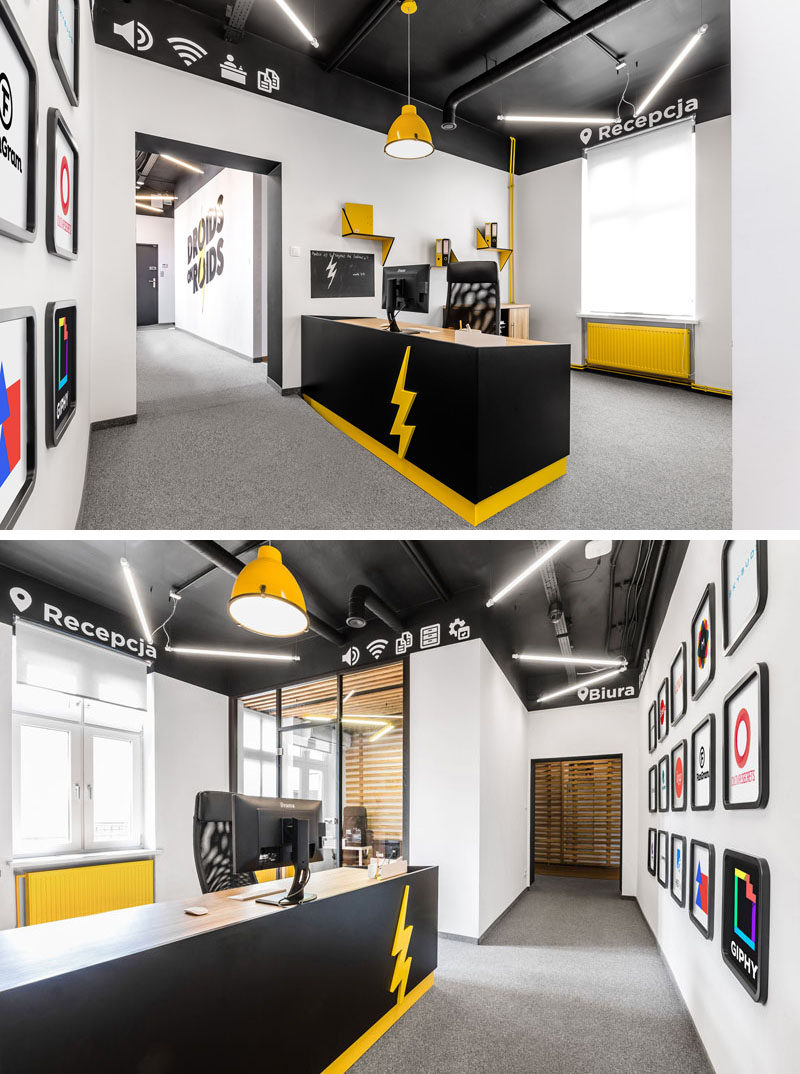 Throughout this modern office interior, like in the reception area, there are icons placed on a stripe resembling a status bar that allows people to easily identify the function of each space.