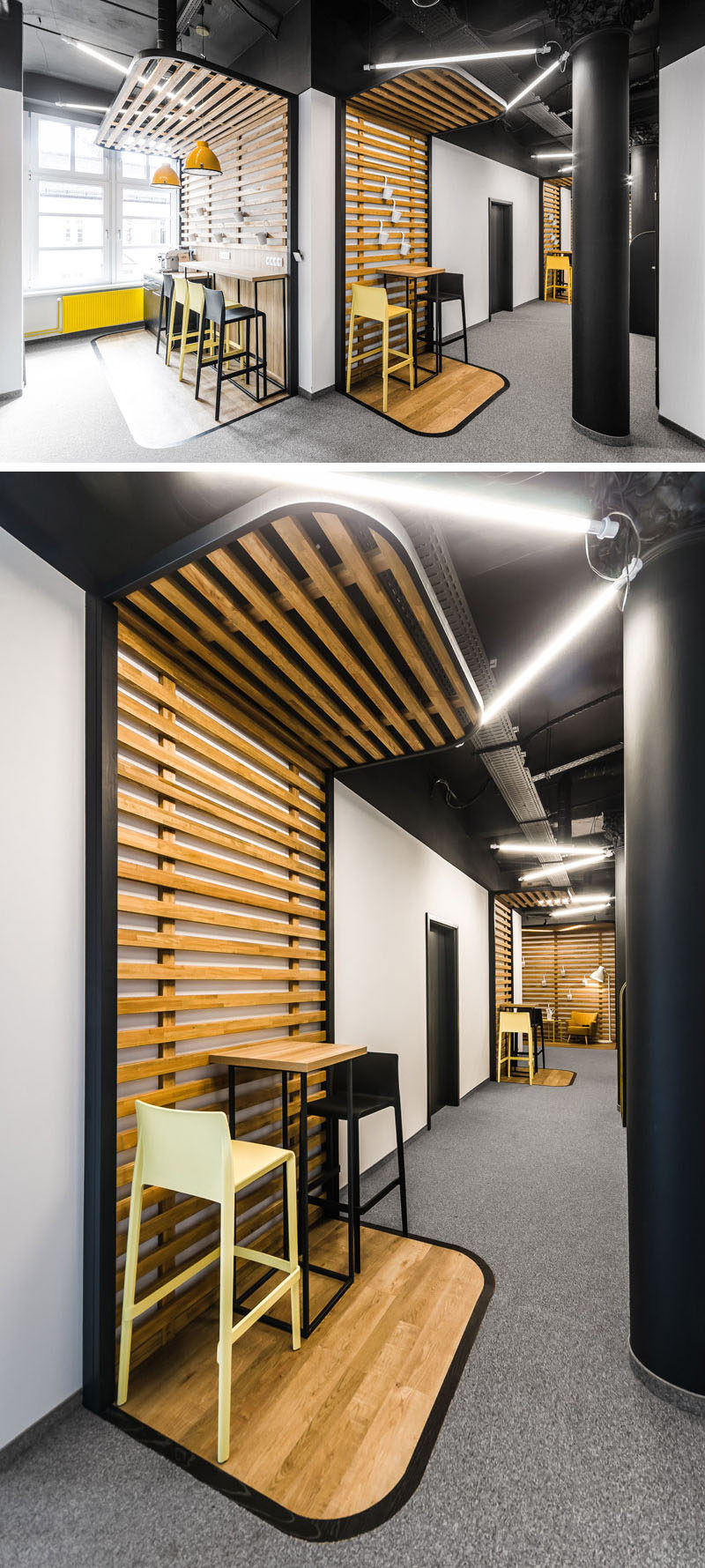 In this modern office, there's clearly defined seating areas with wood slats and a black border that frame wood bar tables with black and yellow seating.